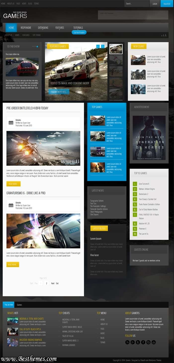 Gamers Theme For Game Reveiw Magazine