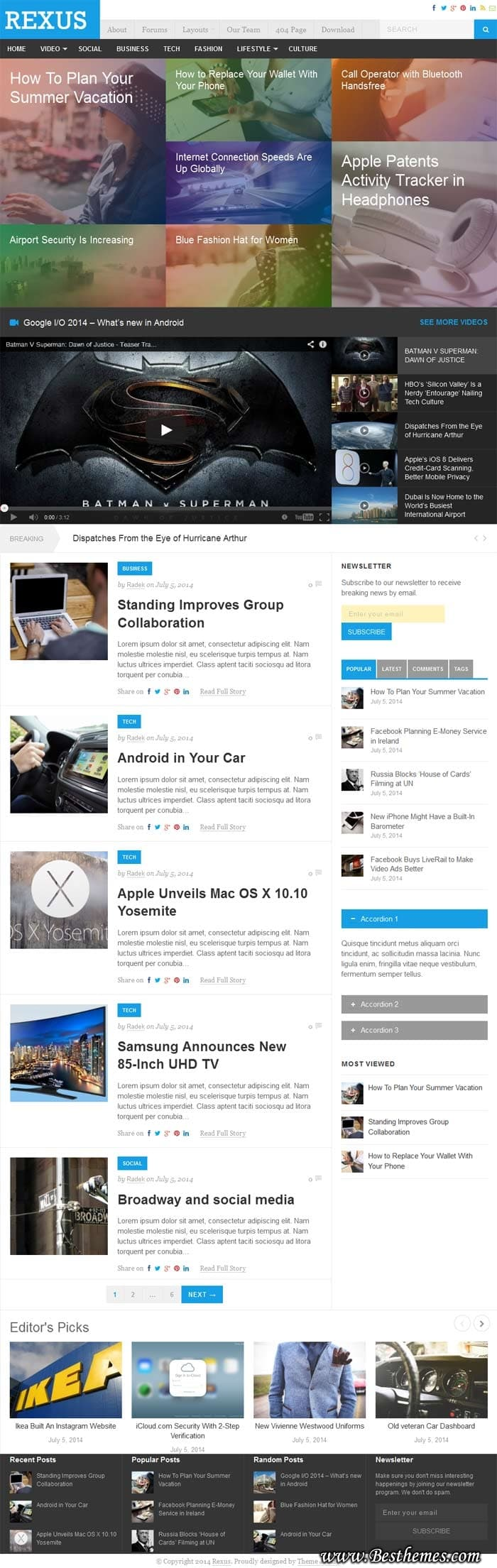 Rexus Theme For News and Magazine website